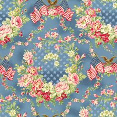 Robyn Pandolph Faded Splendor Blue Patriotic Shabby Rose Floral Fabric BTY by PrivateSourceQuiltin on Etsy