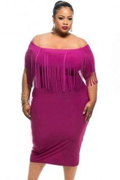 Plus Size Women Clothing 2017 Rosy Black Off The Shoulder Short Sleeve  Fringe Tassel Top Summer Dresses Vestidos Verano 02fb9b15ccb4