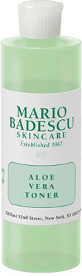 Aloe Vera Toner from Mario Badescu Skin Care via mariobadescu.com Alcohol free with exactly 4 ingredients- great during pregnancy!