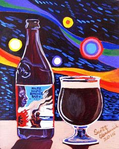 Beer Art Oil Painting by Scott Clendaniel of Miles Davis' Bitches Brew by Dogfish Head Craft Brewery.