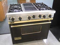 Viking range black and brass Kitchen Stove, New Kitchen, Kitchen Dining, Kitchen Appliances, Smart Kitchen, Stoves For Sale, Viking Range, Cooking With Coconut Oil, Range Cooker