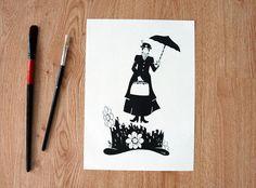 Mary Poppins sorvola la città con il suo ombrello - illustrazione . Stampa a4 bianco e nero by PinisArtShop #italiasmartteam #etsy