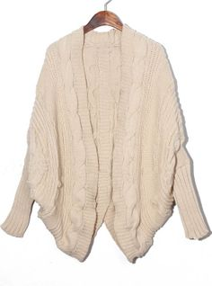 Apricot Batwing Cape Cardigan Loose Sweater - Sheinside.com