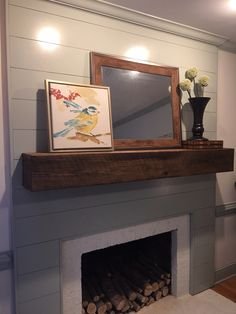 This fireplace transformation started with covering the out dated raised panel… Wood Fireplace Surrounds, Wood Mantle Fireplace, Fireplace Mantle, Fireplace Inserts, Little White House, Faux Wood Beams, Family Room Design, Ship Lap Walls, Living Room Remodel