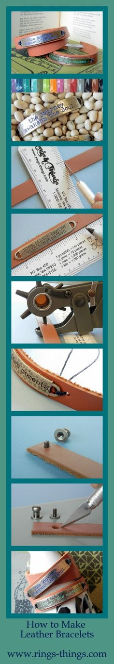Learn how to make leather cuff bracelets from strips of leather; a free DIY jewelry-making tutorial from www.rings-things.com.  #Beading #Jewelry #Tutorials by businesslocke
