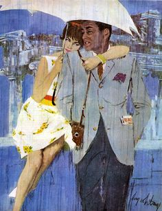"Rain is not dampening their spirits. I love the way she has her arm draped around her man and her head on his shoulder. This painting accompanied a story titled ""Love Comes To Miss Lucas"", by Coby Whitmore."