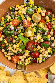 Chunky Pico de Gallo. Whether you call it a salad, a salsa or a dip it's so good for you-packed with power foods like chickpeas and lentils it will keep you full and healthy. #healthy #vegetarian
