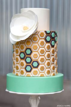 Gold & Mint Hexagon Cake | by Jessica Harris | TheCakeBlog.com
