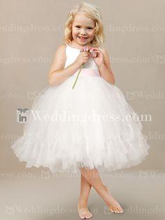 Tulle Flower Girl Dress with Spaghetti Straps Fl005