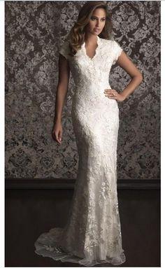 v-neck lace short sleeve Trumpet Mermaid wedding dress bridal dress custom size