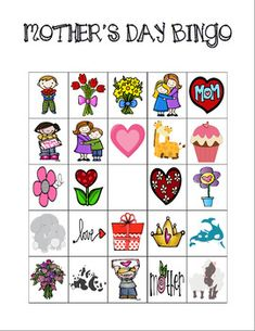 mothers day mommy bingo game printable free printables from everyday parties pinterest. Black Bedroom Furniture Sets. Home Design Ideas