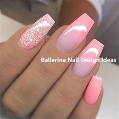 Trendy ballerina nail art 2019 nails in 2019 маникюр Nail Art Designs, White Nail Designs, Acrylic Nail Designs, Diy Nails, Cute Nails, Pretty Nails, Acrylic Nail Shapes, Acrylic Nails, Gel Nail