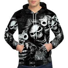 Punk 3D Skull Hoodie | X-Skull God-X #hoodie #jacket #gun #jacket