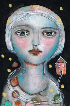 Mixed Media Painting Original Modern Folk Art  Expressive woman dream journey ethereal by kittyjujube on Etsy
