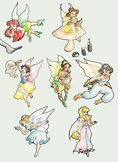 Disney Princess Fairies, just had to pin this! (is it just me, or does Ariel look like Prilla? Disney Princess Facts, Disney Princesses And Princes, Disney Princess Drawings, Disney Drawings, Fairy Princesses, Twisted Princesses, Sailor Princess, Disney Fan Art, Disney Girls