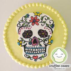 Stuffed Cakes: Sugar Skull Cake (for the cutting cake) Skull Cake Pan, Sugar Skull Cakes, Sugar Skulls, Halloween Birthday Cakes, My Birthday Cake, Birthday Ideas, Fondant Cakes, Cupcake Cakes, Cupcake Ideas