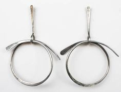 "Art Smith American Earrings, c. 1950's Silver Stamped ""Art Smith"" 4"" high x 2 3/4"" wide #jewelrydesign"