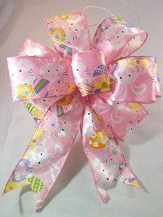 Pink Easter Bunny Bow Handmade Wired Pink Bow Easter Bunny and Easter Eggs Bow 9 Inch Diameter Easter Basket Bow Or Wreath Bow Wreaths For doors http://www.amazon.com/dp/B01C4NR288/ref=cm_sw_r_pi_dp_K7YZwb1NB5J1D