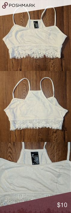 Heathered cream lace bralette Beautiful soft cotton material, with no defects! Has a hidden zipper on the side to make life easier 😂 only worn twice! Comes from a smoke free home Full Tilt Intimates & Sleepwear Bras