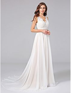 A-Line V Neck Court Train Chiffon Lace Custom Wedding Dresses with Appliques Lace Sash / Ribbon Button by LAN TING BRIDE®