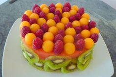 cantaloupe, kiwi, raspberry and watermelon cake