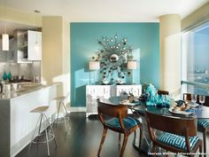 Sherwin Williams Interesting Aqua Modern Küche with Dark Wood Floor by Gacek Design Group, Inc. at New York