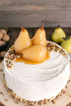 Pear & Walnut Cake with Honey Buttercream--Part of 20 Old Fashioned Southern Cake Recipes Pear Recipes, Sweet Recipes, Cake Recipes, Dessert Recipes, Jelly Recipes, Food Cakes, Cupcake Cakes, Cupcakes, Just Desserts