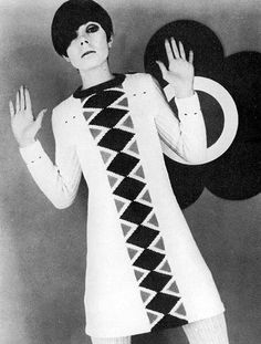 """MY caption is either """"STOP"""" or """"To zip, or unzip, that is the question!""""  Peggy Moffit in Mary Quant sweater mini."""