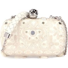 Alexander McQueen Classic Embroidered Skull Clutch Bag w/Strap ($4,070) ❤ liked on Polyvore featuring bags, handbags, clutches, alexander mcqueen purse, rhinestone skull purse, tassel purse, skull purse and alexander mcqueen clutches