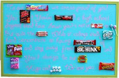 DIY Candy gram poster for graduation or any other celebration -sorry its hard to read