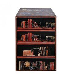 WOODEN_PU DRAWER 'BOOKS' W_4 DRAWERS 40Χ30Χ58