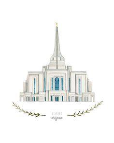 Gilbert Arizona LDS Temple Illustration - Archival Art Print by HeatherMettra