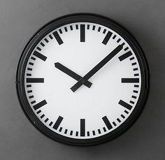 love this vintage lighted train station clock-Restoration Hardware