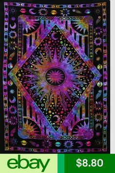 (Twin X approx), Multicolor) - Jaipur Handloom Twin Blue Tie Dye Purple Burning Sun Tapestry, Celestial Sun Moon Planet Bohemian Tapestry Tapestry Tapestry Wall Hanging Boho Tapestry Hippie Hippy Tapestry Beach Coverlet Curtain Trippy Tapestry, Tie Dye Tapestry, Dorm Tapestry, Psychedelic Tapestry, Tapestry Bedroom, Mandala Tapestry, Tapestry Wall Hanging, Wall Hangings, Ceiling Tapestry