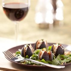 Goat's Cheese Stuffed Figs on Arugula with a super simple Maple-Balsamic Vinaigrette. #foodgawker