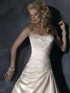 A-line/Princess Axelbandslös Court Släp rmlös Satäng Wedding Dresses