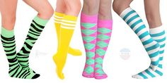 Fun and funky knee socks Knee High Socks, Thigh Highs, Thighs, Fun, Color, Women, Style, Fashion, Swag