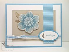 handmade card ... kraft, blue and white ... luv the whitewash technique used for the flower ... card layout by blogger's daughter ... Stampin' Up!