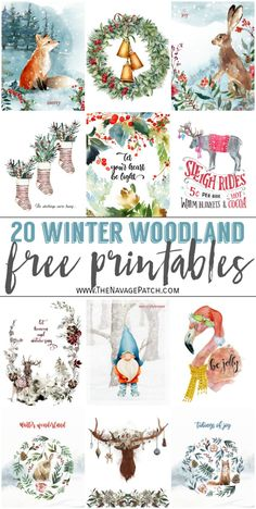 Watercolor Winter Woodland Printables printables christmas printables before christmas printables before christmas printables free christmas printables Christmas Paper Crafts, Christmas Art, Holiday Crafts, Holiday Fun, Vintage Christmas, Christmas Holidays, Christmas Decorations, Holiday Decor, Beautiful Christmas