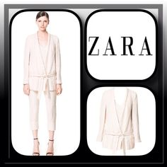 ZARA Ivory Linen Jacket Great looking Zara Basic Jacket features a one button closure with tie front, long sleeves, front pockets, fully lined, this is a jacket that will look good with everything from jeans to dresses from work to play its a classic... Brand New with the Boutique Tag Zara Jackets & Coats
