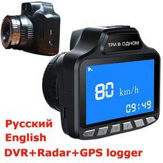 "Russian 3 in 1 Car DVR radar Detector 3"" LCD 140 degree lens dvr camera GPS logger car radar tachograph Traffic warning"