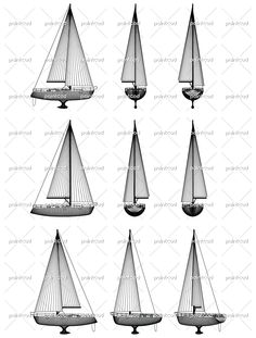 Wireframe design of motor boat with keel, railing and sails. Side, front, back and axonometric view. Vector Illustration of isolated objects over blue background.