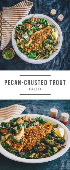 Pecan-Crusted Trout that's paleo! Recipe here: https://greenchef.com/recipes/paleo-smoky-pecan-crusted-trout-with-crispy-roasted-broccoli-mixed?utm_source=pinterest&utm_medium=link&utm_campaign=social&utm_content=pecan-trout-paleo