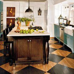 Love the floors Cottage Kitchen