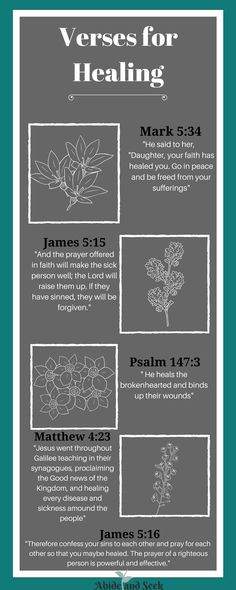 There are days when you need to take that extra step in God's direction, especially when it comes to healing.I have found that these 7 verses have contributed to healing in my life at the moment when I needed it the most.