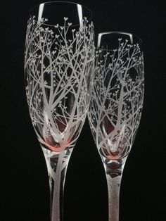 2+Champagne+Flutes++Hand+Engraved++'Tree+Of+by+daydreemdesigns,+$60.00
