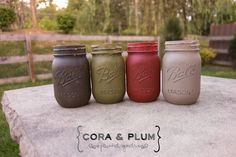 Autumn Fall Colors Shabby Chic Painted Mason Jars Wedding Centerpieces Baby Bridal Shower French Country Vintage on Etsy, $22.00