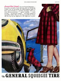 The matching Scottie dog plaid jacket is too cute for words! #vintage #car #ad #plaid #dog #clothes #1940s