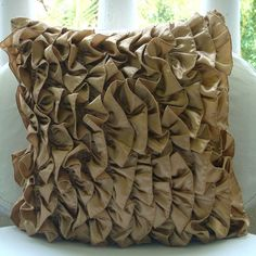 """Brown Vinage Style Ruffles 18""""X18"""" Satin Pillow Covers - Vintage Affair"""