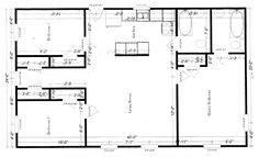 The floor plan for this house has three bedrooms - two are 8 x 12 feet and the master bedroom is 12 x 16 while the central living area is 16 x 24.  I really like the simplicity of this arrangement.